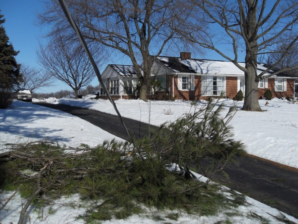 This picture shows down live wires supplying power to a house in Oxford, PA.