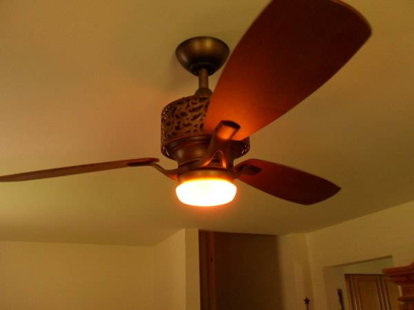 A three blade ceiling fan installed in Landenberg, PA.